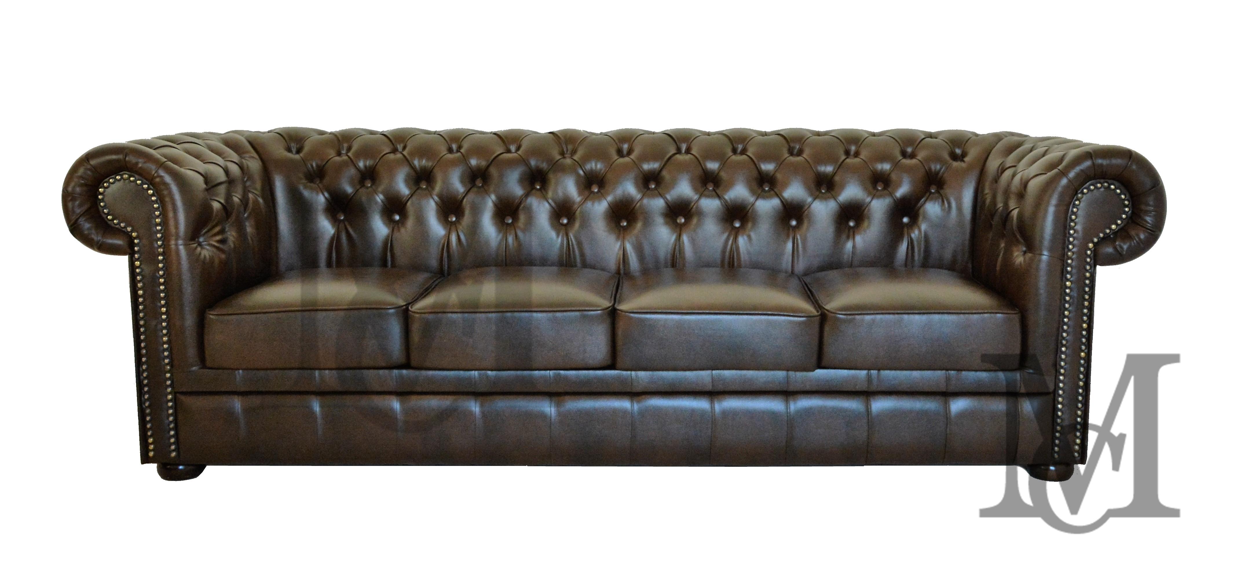 Sofa Classic Chesterfield 4 Osobowa Skora Naturalna Pikowana Sofa